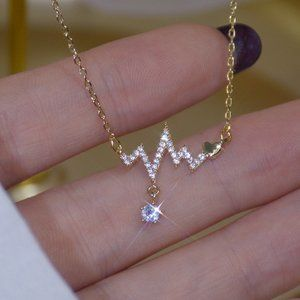 NEW 14K Gold Plated Diamond Heartbeat Necklace